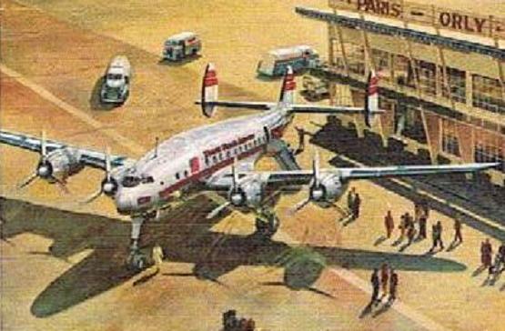 Image d'un avion de ligne des années 50 (Lockheed Constellation) sur le tarmac de l'aéroport d'Orly