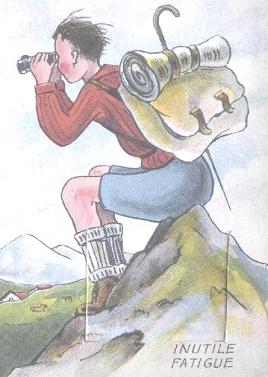 Image d'un randonneur, assis sur un rocher, admirant aux jumelles un paysage de montagnes