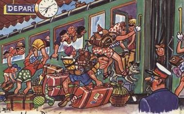 Image de joyeuse bousculade pour monter dans un train avec sacs et bagages