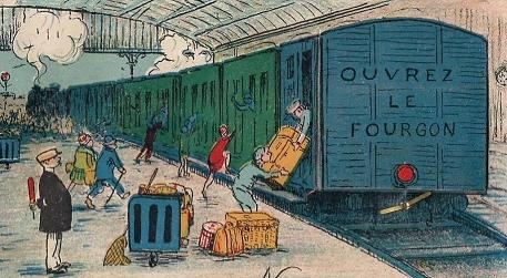 Image d'un quai de gare où l'on charge des bagages dans un train